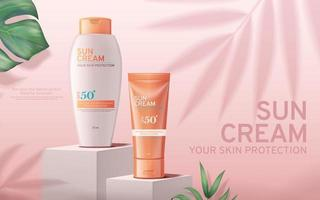 Realistic Sunscreen advertisement editable banner with tropical leaves