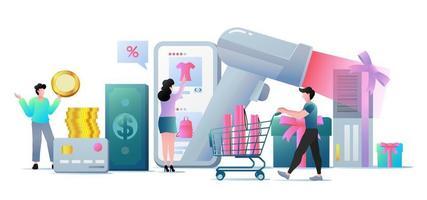 WebModern flat design business concept for online shopping vector