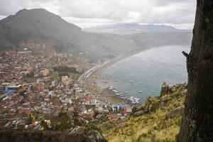 View at town Copacabana on Titicaca lake in Bolivia photo