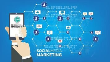 Social media marketing template concept with emoji, webpage, search icons, chat and chart with smartphone vector