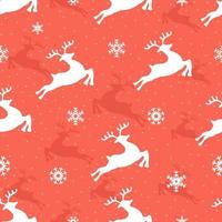 Christmas seamless pattern with reindeer and snowflakes. Design of Christmas decoration. Design for fabric, textile, wallpaper, surface, background, print, etc. Vector illustration.
