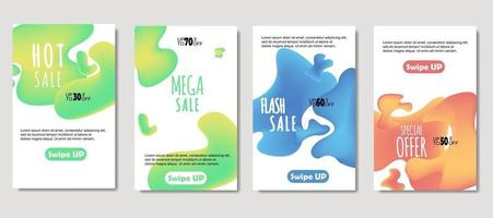 Dynamic abstract fluid mobile for sale banners. Sale banner template design, Mega sale special offer set. design for flyer, gift card,  Poster on wall ,coverbook,  banner, social media vector