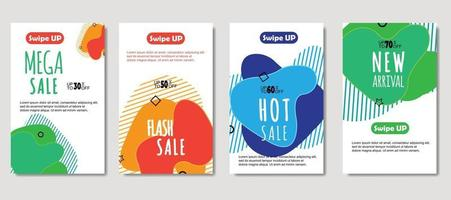 Dynamic abstract fluid mobile for sale banners. Sale banner template design, mega sale special offer set. Design for flyer, gift card, poster on wall, cover book, banner, social media vector
