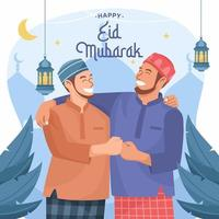 Brother Celebrating Eid Mubarak Together vector