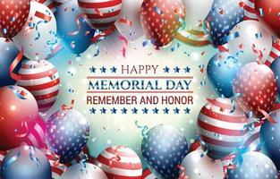 celebración del concepto de plantilla de feliz día de los caídos en EE. UU. vector