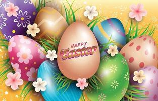 Celebration of Easter Day with Colorful Easter Eggs vector