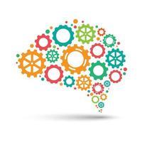 Cerebro de engranaje colorido abstracto, concepto de diseño de pensamiento creativo, ilustración vectorial