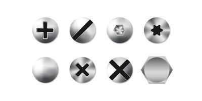 Conjunto de tornillos, pernos y remaches aislados sobre fondo blanco, ilustración vectorial vector