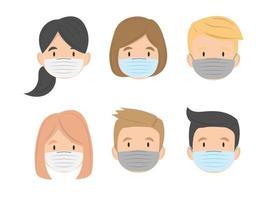 Grupo de niños se enfrentan con diseño plano de máscara médica, ilustración vectorial vector