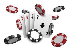 Cartas de póquer de casino 3d y fichas de juego aisladas sobre fondo blanco, ilustración vectorial vector