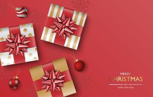 Christmas gifts box background, Christmas poster, greeting card, vector illustration