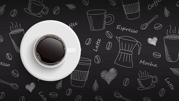 Coffee cup on hand drawn doodle coffee background, vector illustration