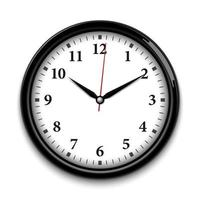 Wall clock isolated on white background, realistic vector illustration