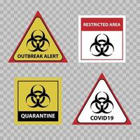 Biohazard warning sign, covid 19 outbreak alert sign, vector illustration