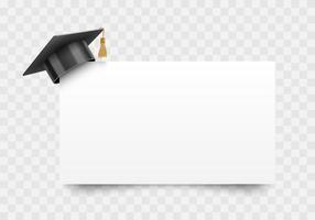 Graduation cap on white paper board corner, education design element, vector illustration