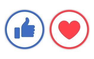Like And Love Icon With Circle Line Vector