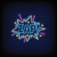 vector de texto de estilo de letreros de neón zap