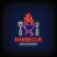 Barbecue Restaurant Logo Neon Signs Style Text Vector