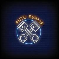 Auto Repair Logo Neon Signs Style Text Vector