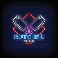Butcher Shop Logo Neon Signs Style Text Vector