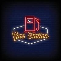 Gas Station Logo Neon Signs Style Text Vector