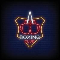 club de boxeo logo letreros de neón estilo texto vector
