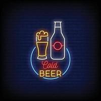 cerveza fría logo letreros de neón estilo texto vector