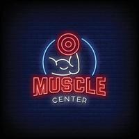 Muscle Center Design Neon Signs Style Text Vector