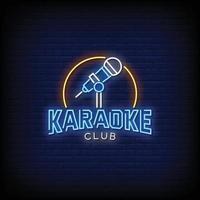 Karaoke Club Design Neon Signs Style Text Vector