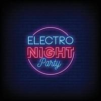 Electro Night Party Design Neon Signs Style Text Vector