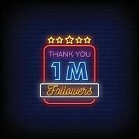 Thank You 1 Million Followers Design Neon Signs Style Text Vector