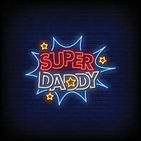 super papá diseño letreros de neón estilo texto vector