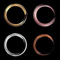 Conjunto de trazos de pincel de círculo metálico dorado, rosa, plateado, cobre para elementos de diseño de marcos aislados sobre fondo negro vector