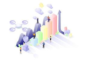 isometric teamwork statistics vector