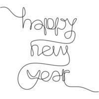 Feliz año nuevo inscripción manuscrita un texto de dibujo de línea continua para el diseño de tarjetas de felicitación. año del toro, buey. año Nuevo Chino. concepto de fiesta de celebración. estilo minimalista vectorial vector