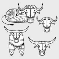 Set of elements a vintage tribal buffalo. Bull logo design isolated on white background. Chinese zodiac symbol of new 2021 year. Vector illustration of decorative Zodiac Sign of bull