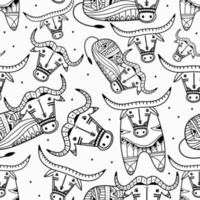 Buffalo animals seamless pattern. Vintage bull in tribal style isolated on white background. Wild and free design. Bull skull and ethnic ornament. Black and white print for your textiles vector
