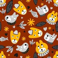 dibujos animados de animales de patrón lindo. divertido oso de peluche, pez y perro con amor, flores y hojas en personaje de dibujos animados. ilustración vectorial de patrones sin fisuras para niños, ropa, papel tapiz, estampado de tela vector