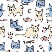Patrón de niños sin fisuras lindo gato. gatito decorado con un manuscrito. gatos divertidos del sueño de los animales aislados en el fondo blanco. dibujo de dibujos animados para bebés, niños y niños impresión textil de moda vector