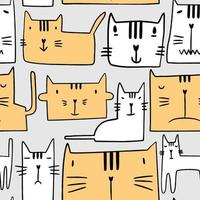 Seamless pattern with different funny cats. Cute kitty paw head with sleepy expressions isolated in grey background. Nursery design in scandinavian style. Animal vector background template for kids