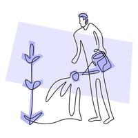 Single continuous line drawing of happy young male is watering flower in the home garden at summer sunny day. Gardening or planting concept. Back to nature in minimalism design. Vector illustration