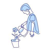Un solo dibujo de línea continua de un macho joven feliz está regando la flor en el jardín de la casa en un día soleado de verano. concepto de jardinería o plantación. de vuelta a la naturaleza en el diseño minimalista. ilustración vectorial vector