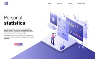 Flat isometric personal statistics concept with character for website landing page and mobile template. vector