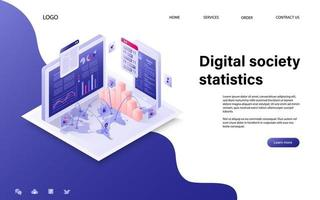 Digital society concept with character for website landing page and mobile template. vector