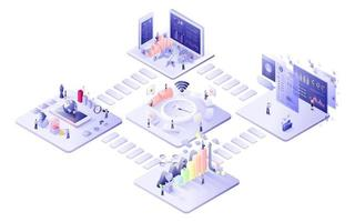 Isometric connect business concept vector
