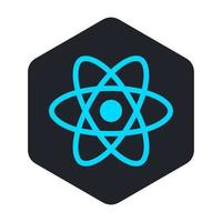 icono de átomo azul en un hexágono negro vector