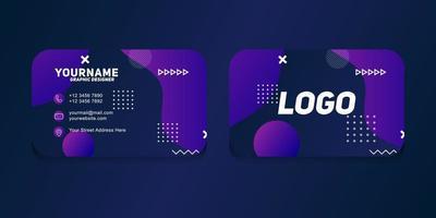 Plantilla de tarjeta de visita geométrica moderna con color morado vector