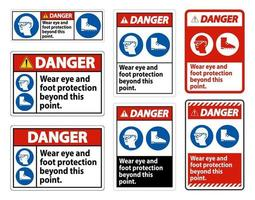 Danger Sign Wear Eye And Foot Protection Beyond This Point With PPE Symbols vector