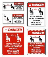 Danger Maintain Social Distancing Wear Face Masks Sign on white background vector