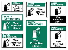 Safety Instructions Wear protective gloves sign on white background vector